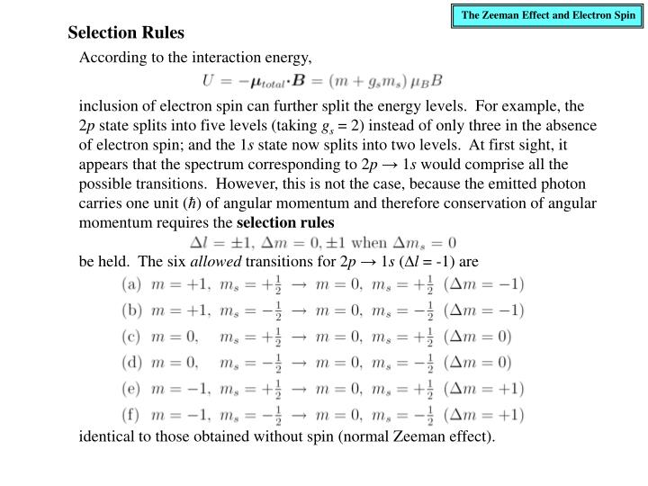 The Zeeman Effect and Electron Spin