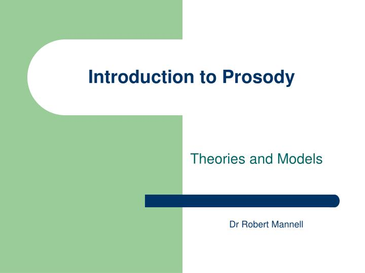 introduction to prosody n.
