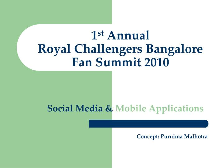 1 st annual royal challengers bangalore fan summit 2010 n.