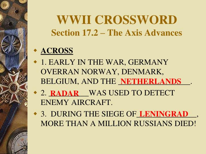 wwii crossword section 17 2 the axis advances n.
