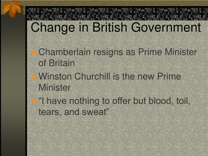 Change in British Government