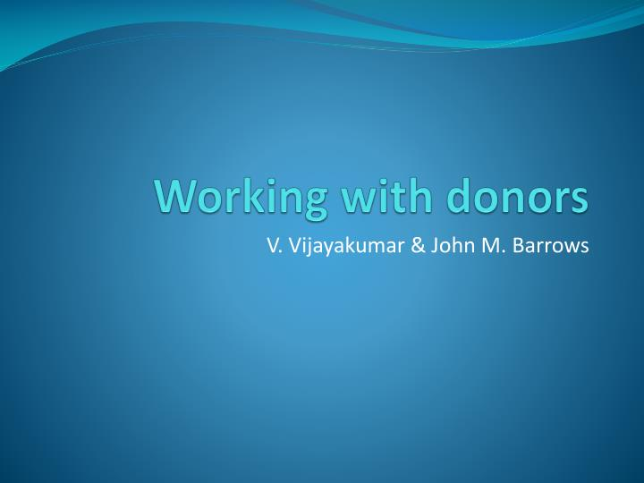 working with donors n.