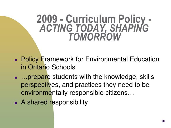 2009 - Curriculum Policy -