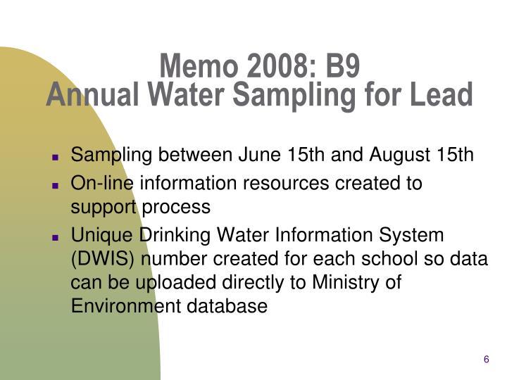 Memo 2008: B9