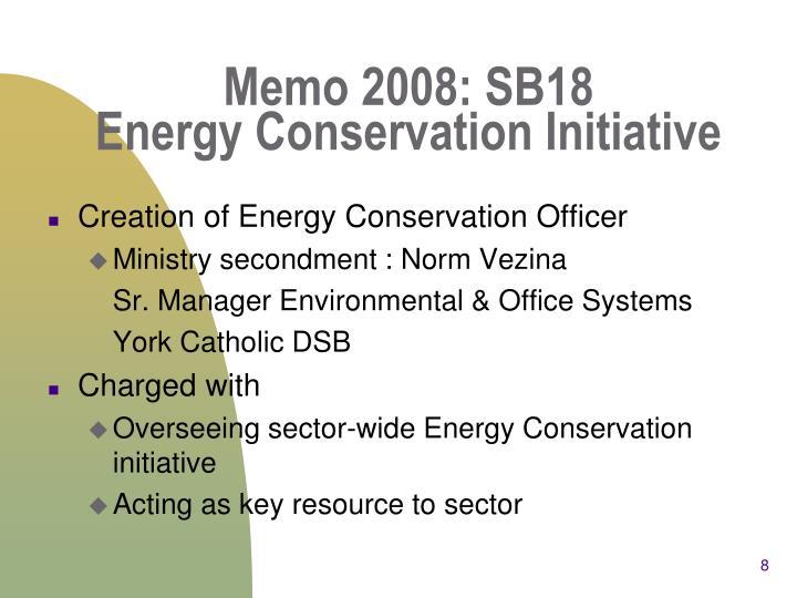 Memo 2008: SB18