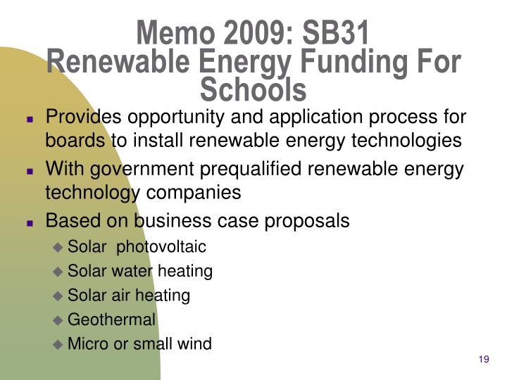 Memo 2009: SB31