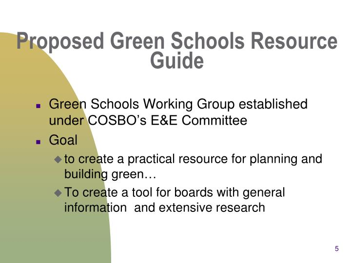 Proposed Green Schools Resource Guide