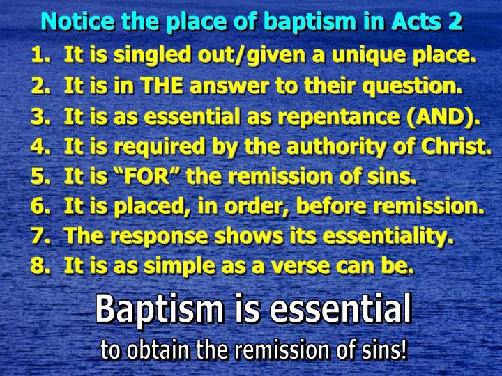 Notice the place of baptism in Acts 2