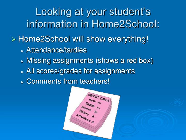 Looking at your student's information in Home2School:
