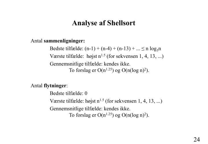 Analyse af Shellsort