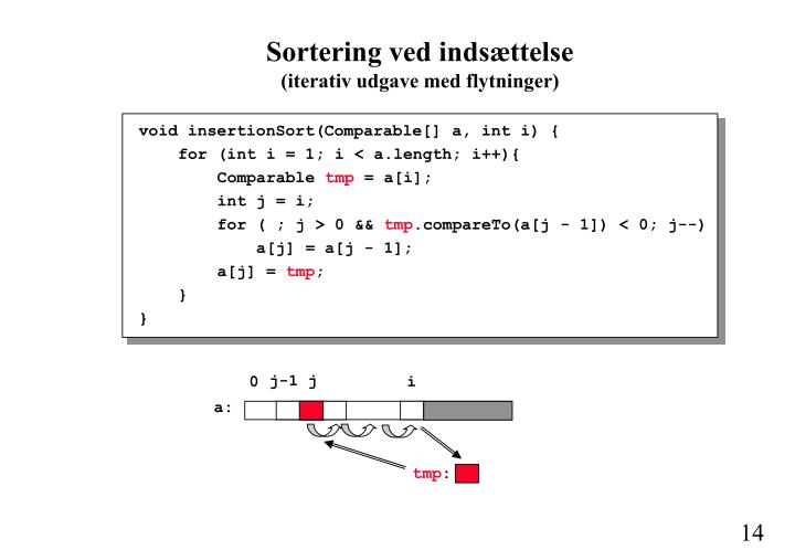 void insertionSort(Comparable[] a, int i) {