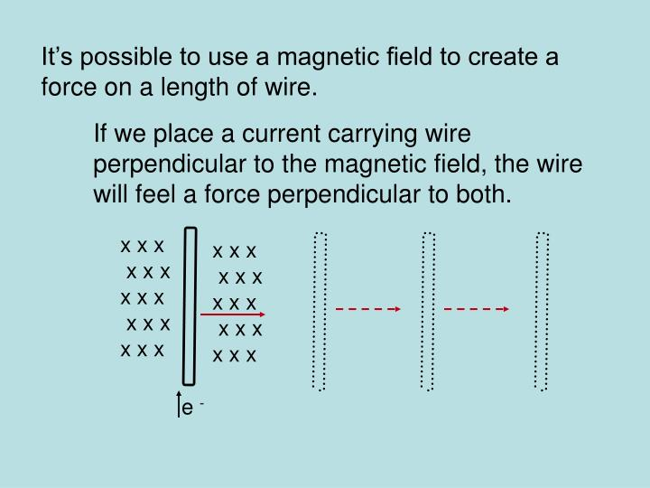 It's possible to use a magnetic field to create a force on a length of wire.