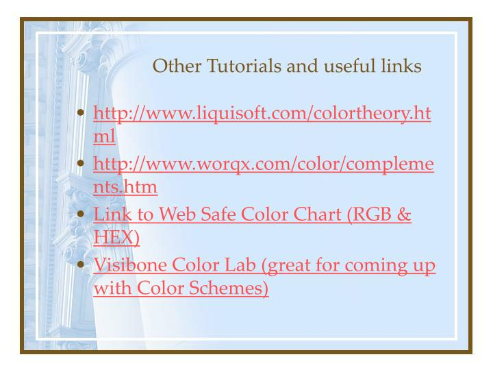 Other Tutorials and useful links