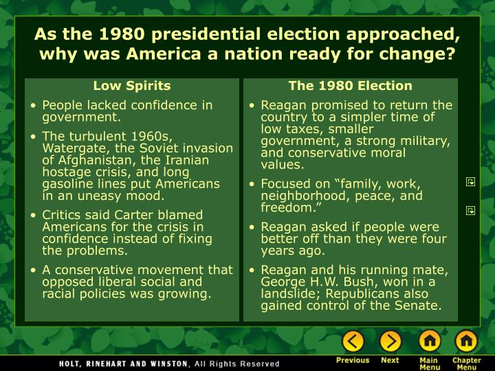 As the 1980 presidential election approached why was america a nation ready for change