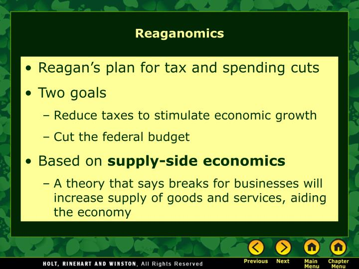 Reagan's plan for tax and spending cuts