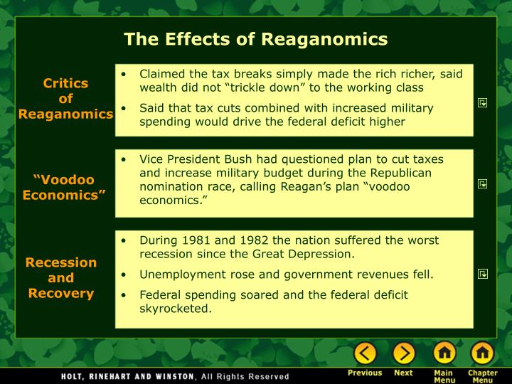 The Effects of Reaganomics