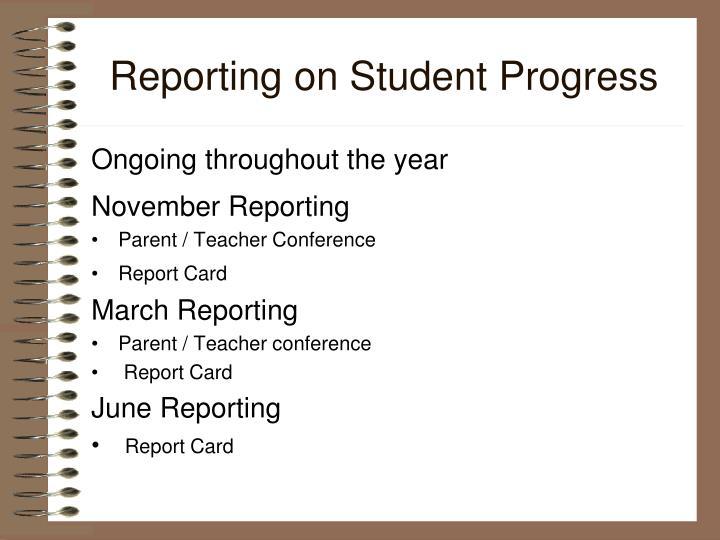 Reporting on Student Progress
