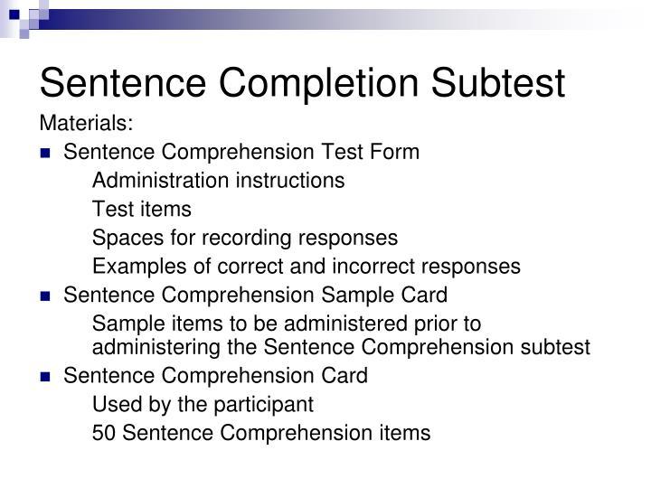 Sentence Completion Subtest