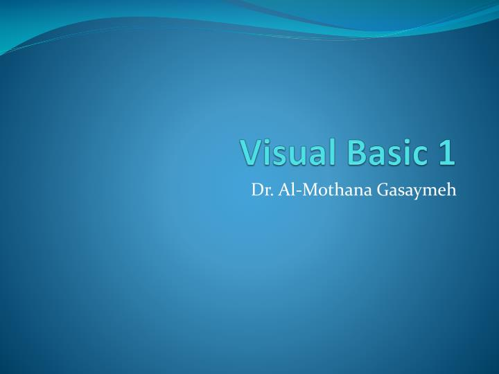 visual basic 1 n.