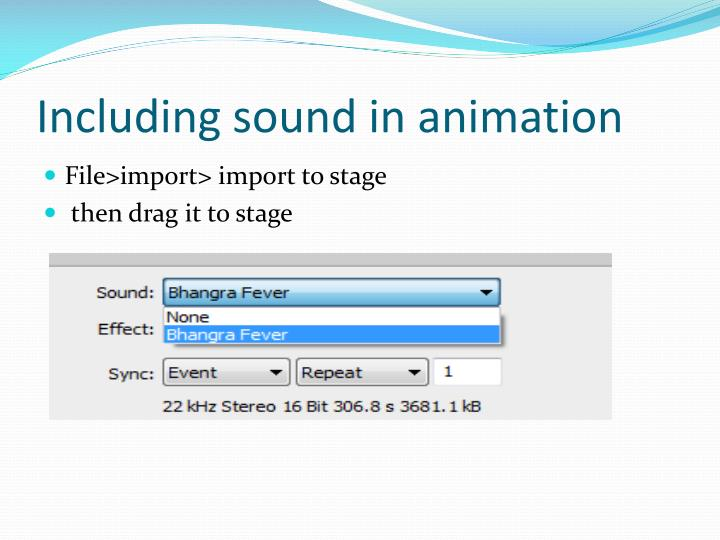 Including sound in animation