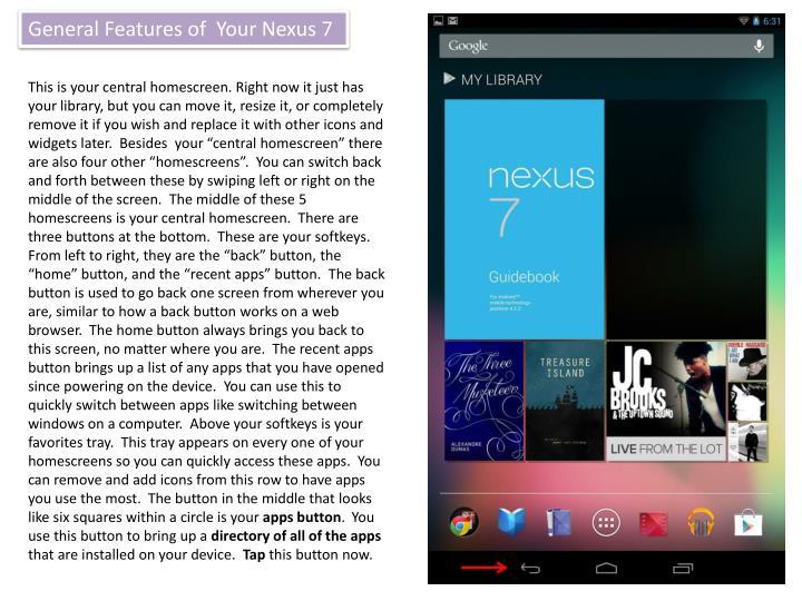 General Features of  Your Nexus 7