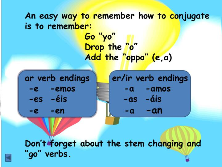 An easy way to remember how to conjugate