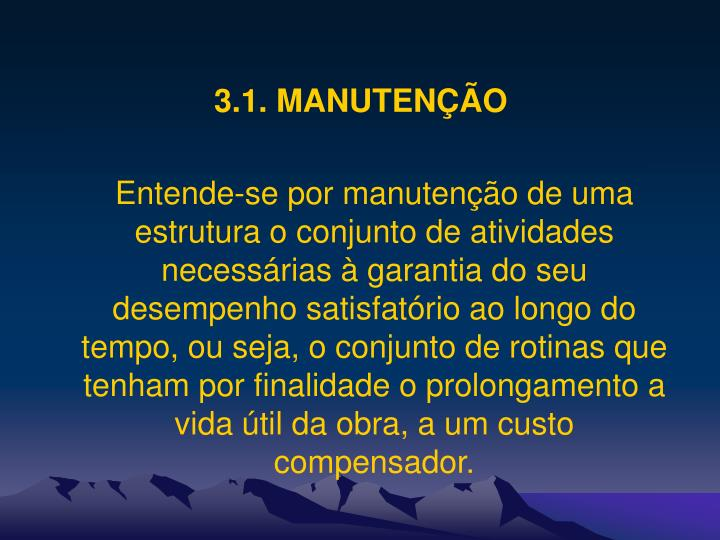 3.1. MANUTENÇÃO