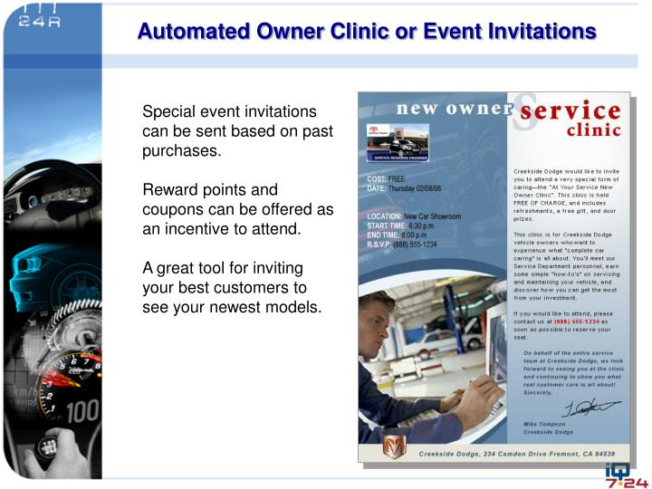 Automated Owner Clinic or Event Invitations
