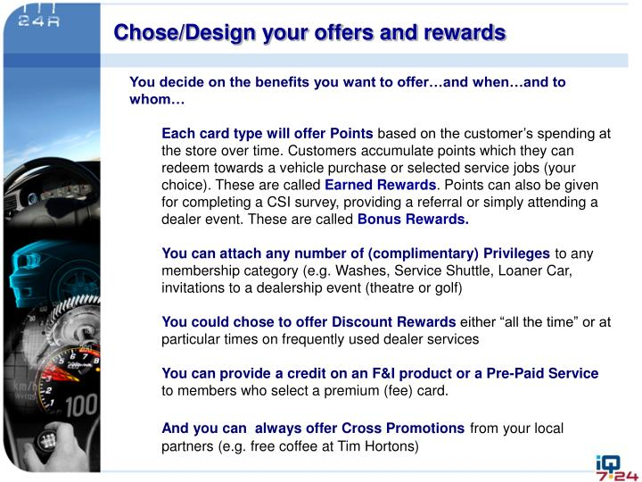 Chose/Design your offers and rewards