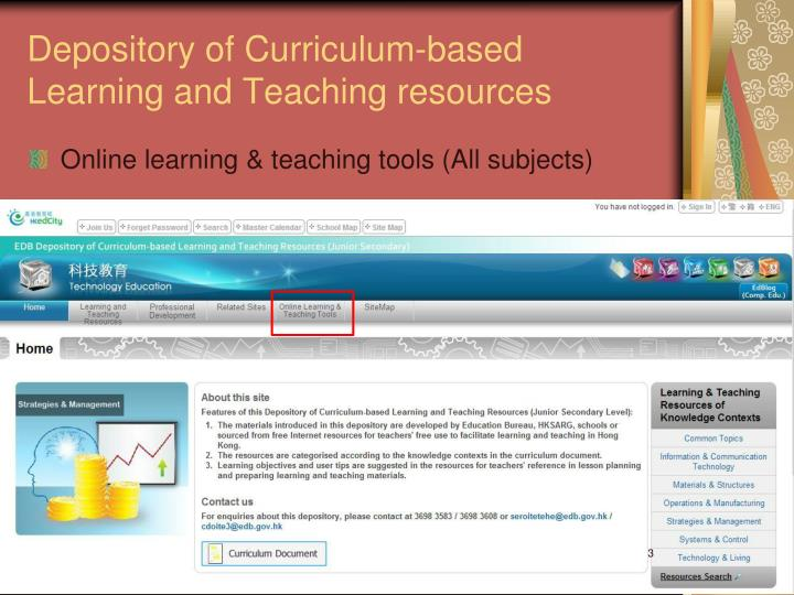 Depository of curriculum based learning and teaching resources