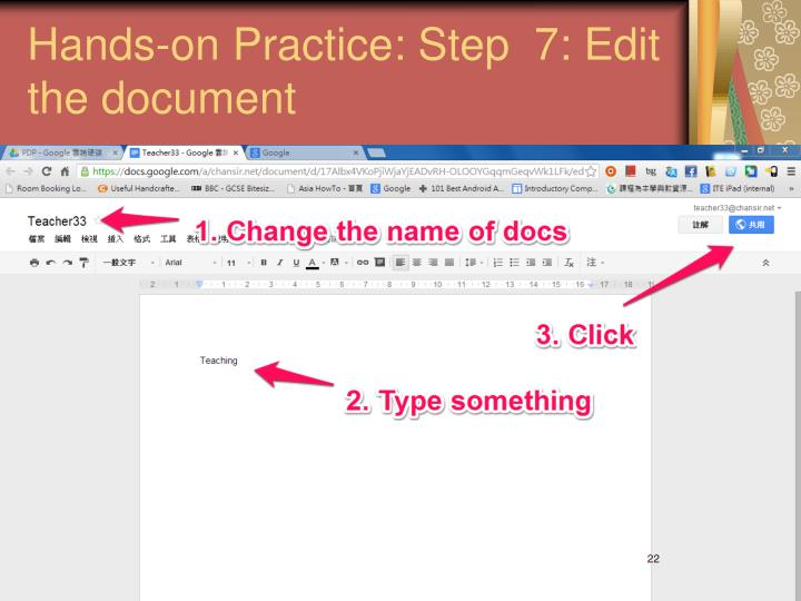 Hands-on Practice: Step  7: Edit the document