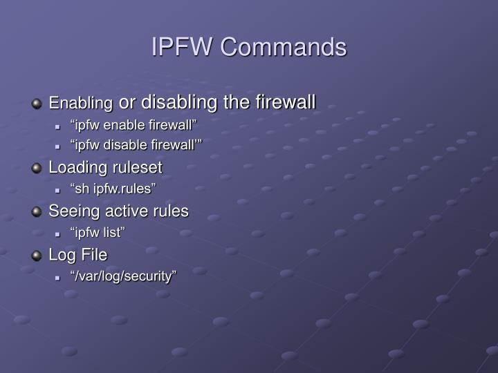 IPFW Commands