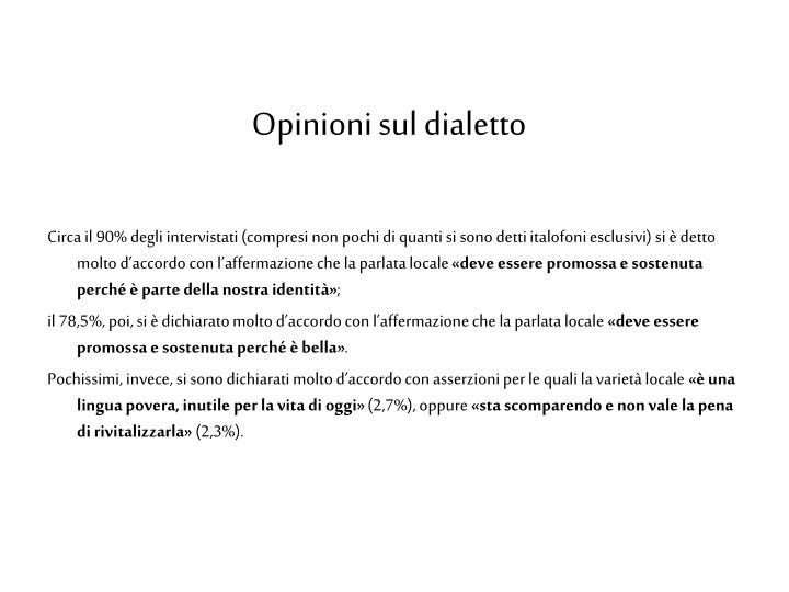 Opinioni sul dialetto