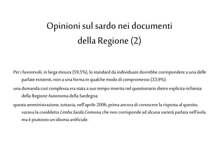 Opinioni sul sardo nei documenti