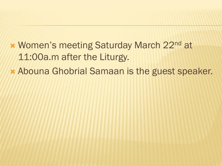 Women's meeting Saturday March 22