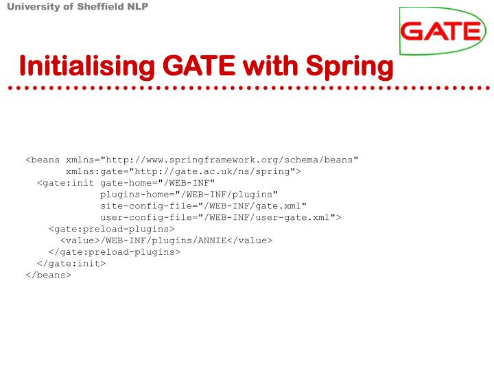 Initialising GATE with Spring