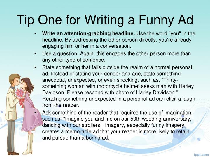 Tip One for Writing a Funny Ad