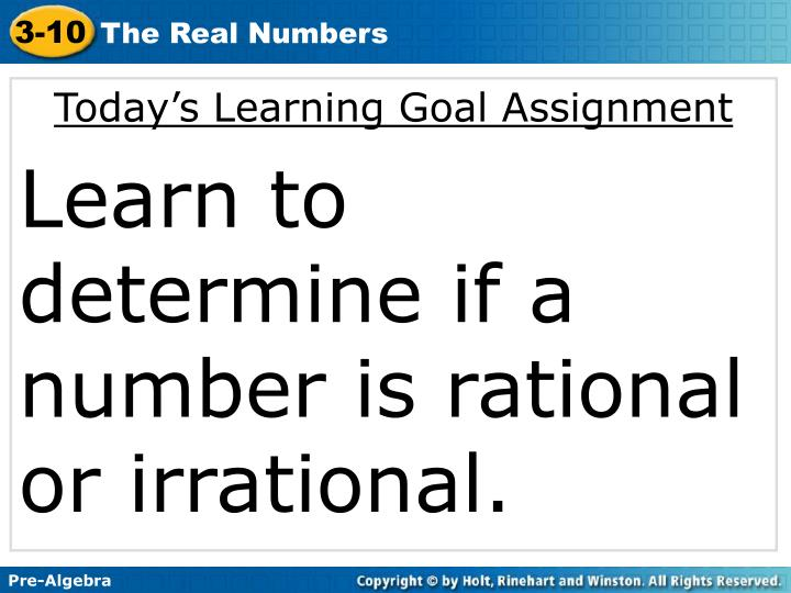 Today's Learning Goal Assignment