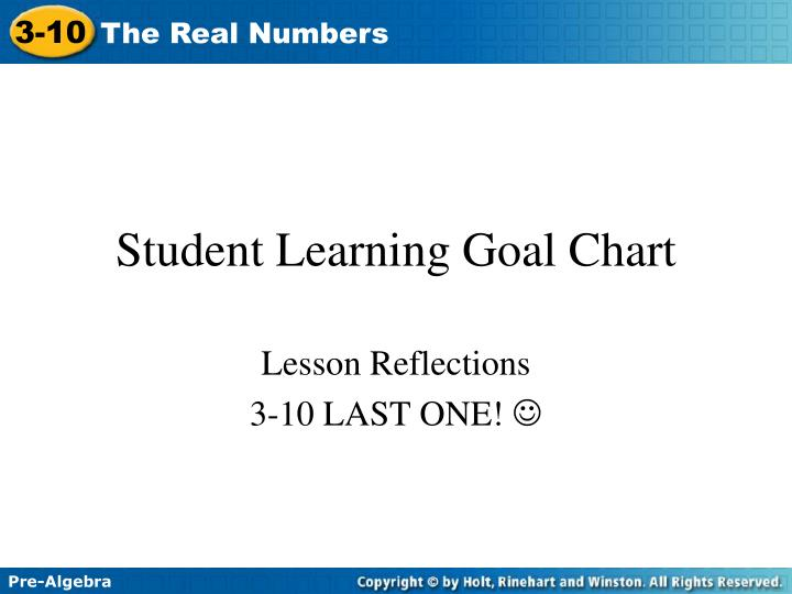 Student learning goal chart