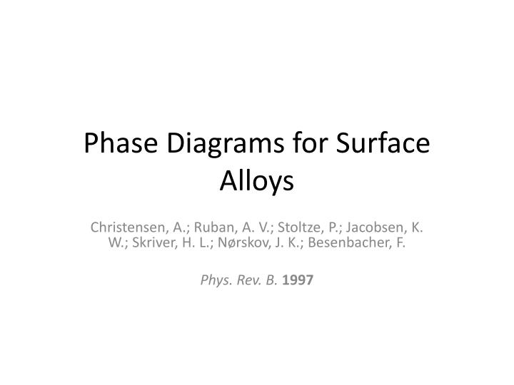 phase diagrams for surface alloys n.