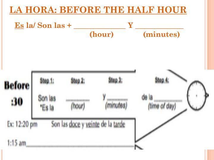 LA HORA: BEFORE THE HALF HOUR