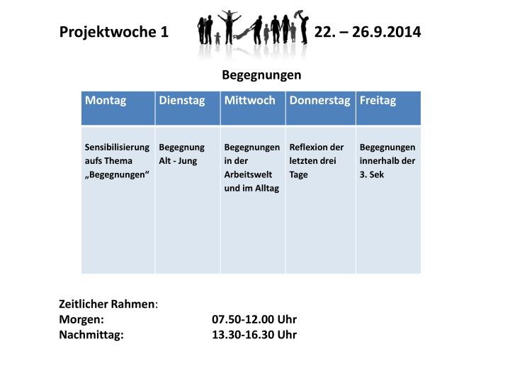 Projektwoche 1 22. – 26.9.2014