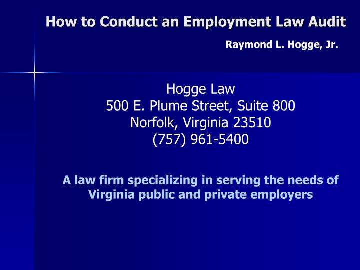 how to conduct an employment law audit n.