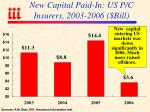 new capital paid in us p c insurers 2003 2006 bill