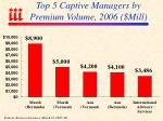 top 5 captive managers by premium volume 2006 mill