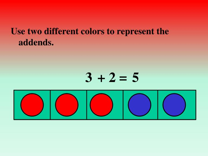 Use two different colors to represent the addends.
