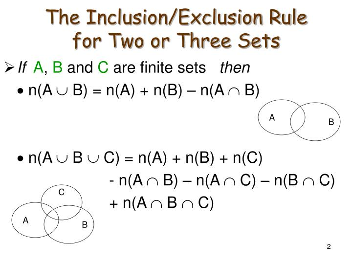 The inclusion exclusion rule for two or three sets