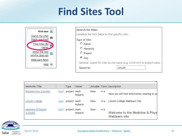 Find Sites Tool
