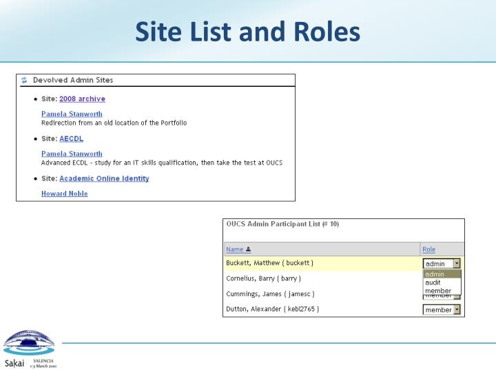 Site List and Roles