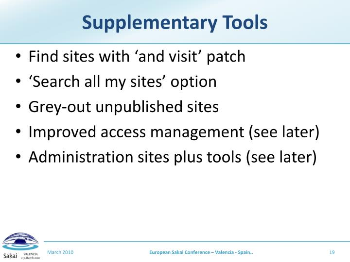 Supplementary Tools